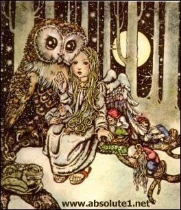 child with owl & fairies