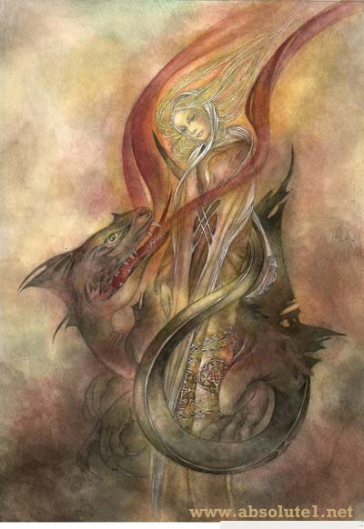 the dragon  - art works by sulamith wulfing,  symbolic and healing images, offering a spiritual message.  The magic of sulamith wülfing in her beautiful depiction of dragons and magical creatures is  mystical and lovely. Sulamith Wulfing is a true mystic